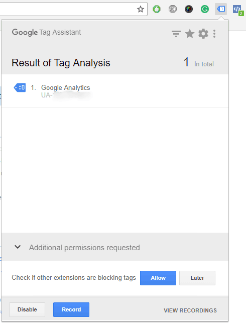 Chrome Extension - Tag Assistant