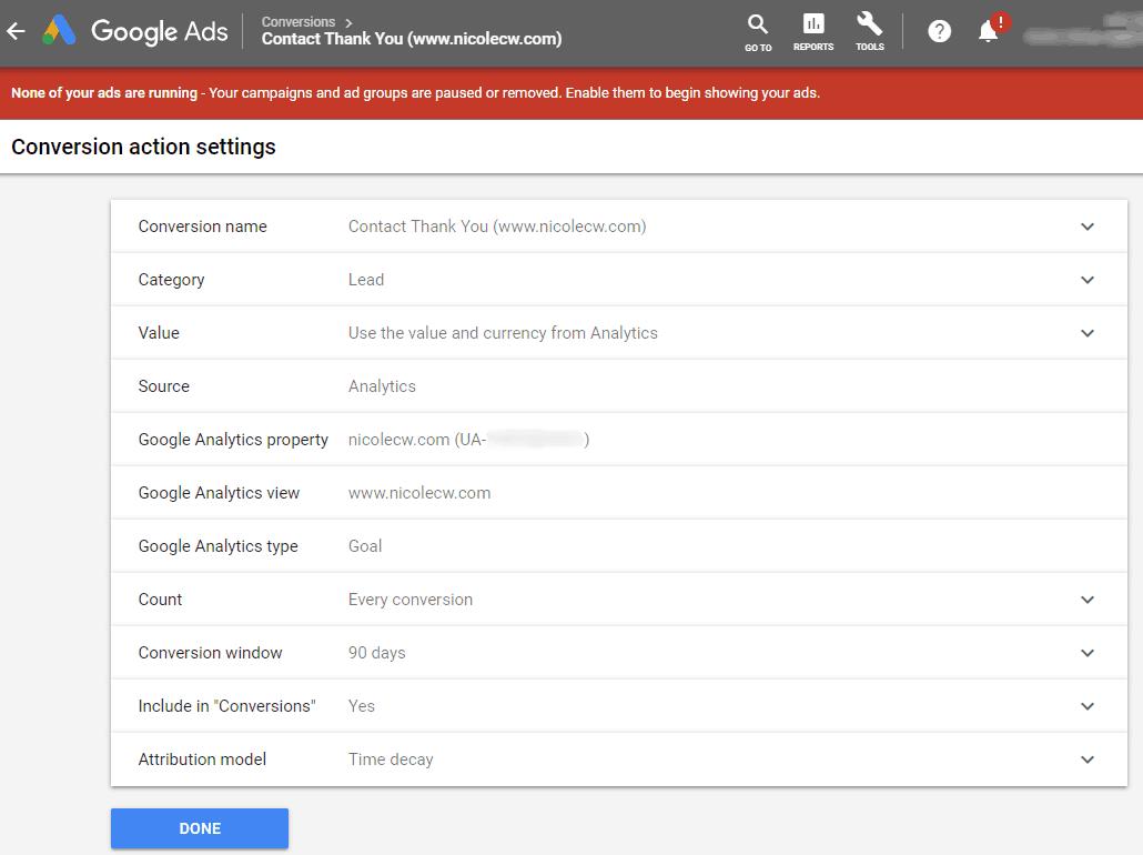 Google AdWords New Interface Google Analytics Conversion Settings