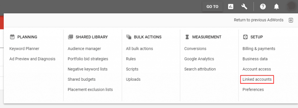 Google AdWords New Interface - Linked Accounts