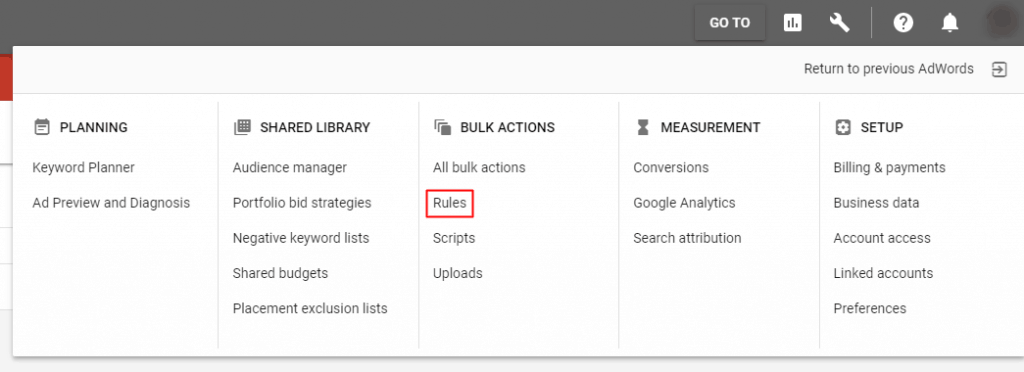 Google AdWords New Interface - Rules