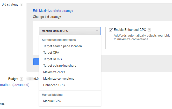 Google AdWords Old Interface - Campaign Bid Strategy