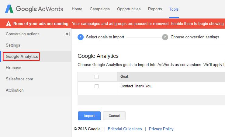 Google AdWords Old Interface - Google Analytics Conversion