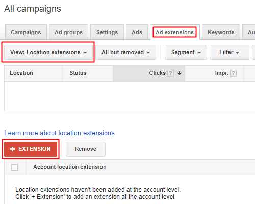 Google AdWords Old Interface - Location Extension