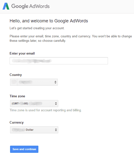 Google AdWords - Sign Up