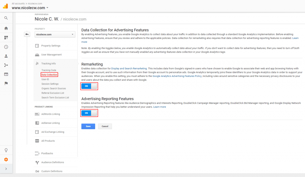 Google Analytics - Remarketing & Advertising Reporting Features