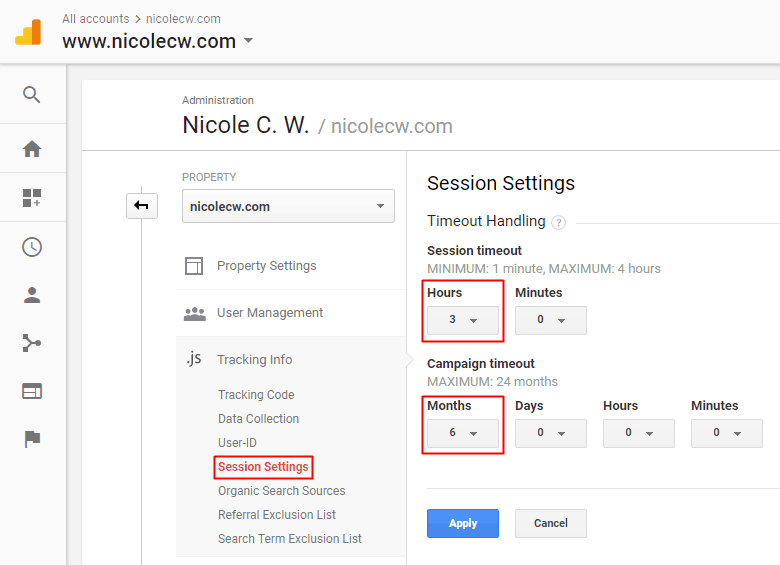 Google Analytics - Session Settings