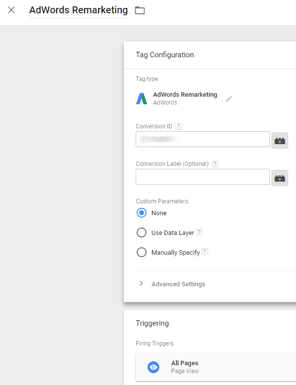 Google Tag Manager - AdWords Remarketing Tag