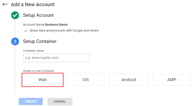 Google Tag Manager - Create New Account
