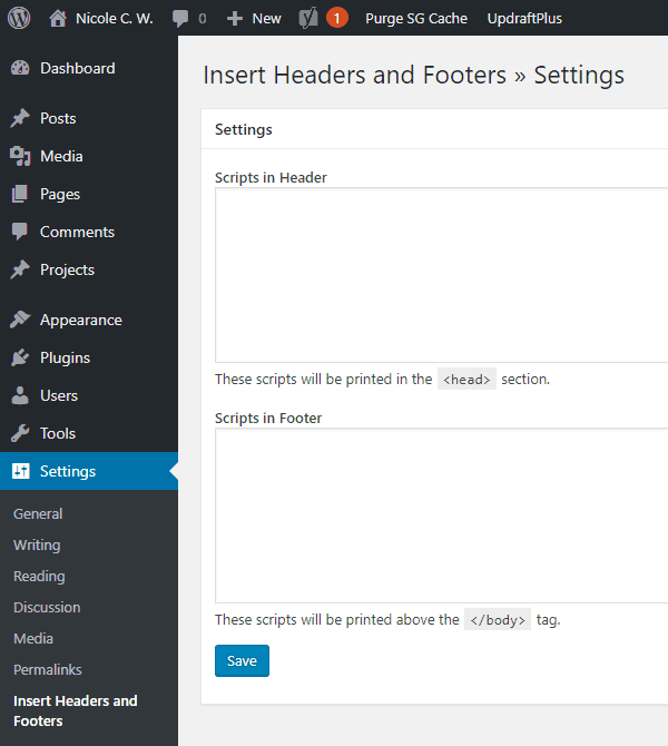 WordPress Plugin - Insert Headers and Footers