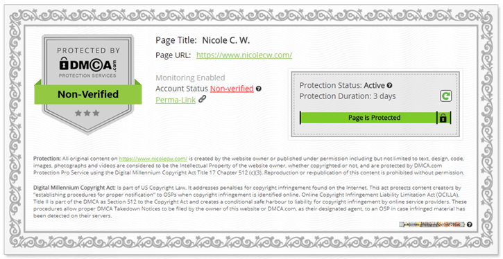 DMCA - Website Certificate Non-Verified Protected Page
