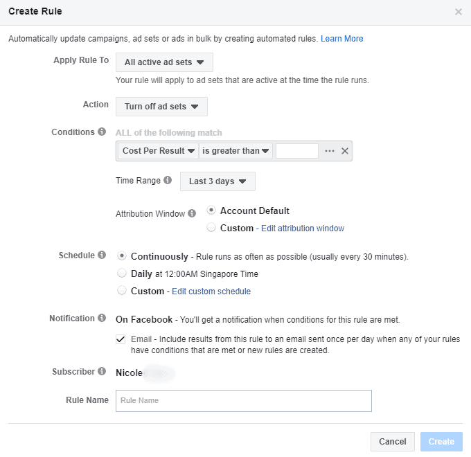 Facebook - Ads Manager - Create Automated Rule