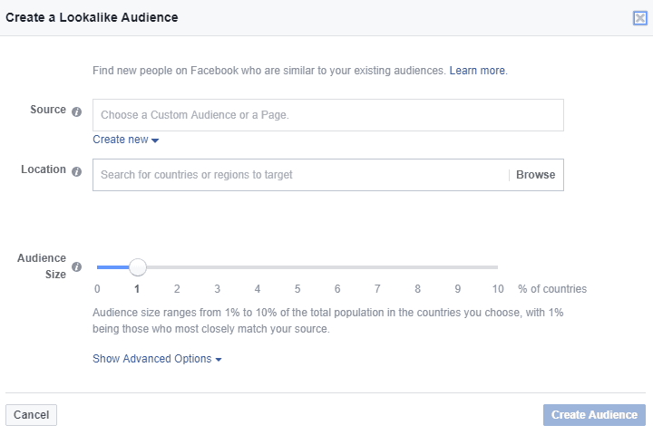Facebook - Ads Manager - Create Lookalike Audience