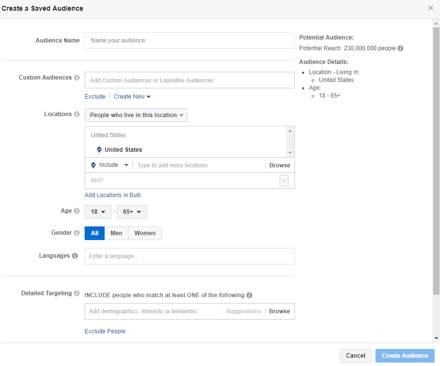 Facebook - Ads Manager - Create Saved Audience