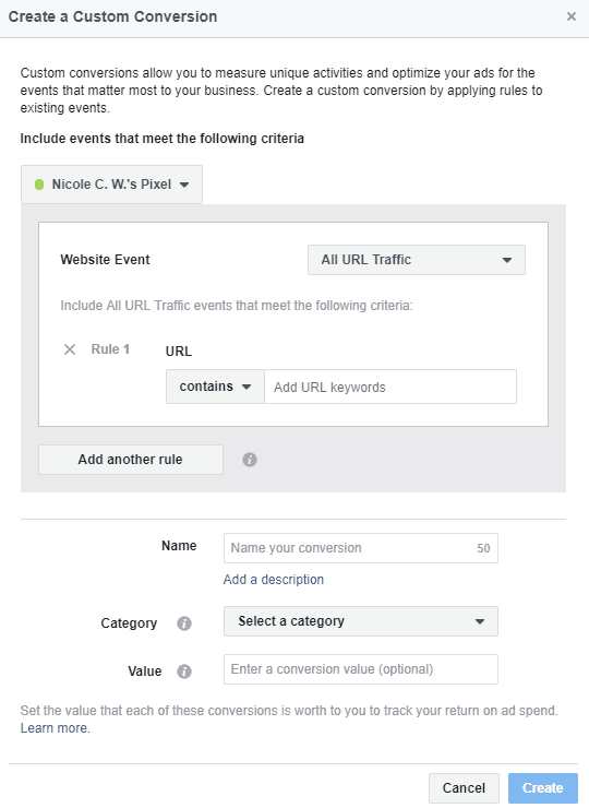 Facebook - Ads Manager - Custom Conversions