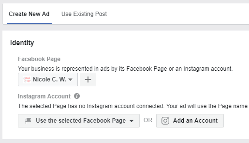 Facebook - Ads Manager - Facebook Page - Instagram Account