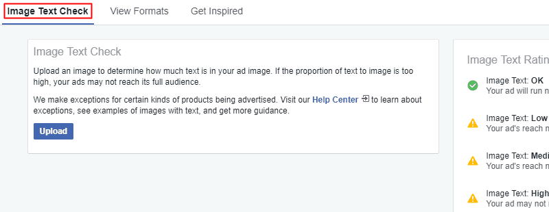 Facebook - Ads Manager - Image Text Check