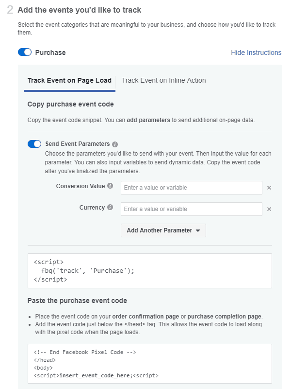 Facebook - Ads Manager - Standard Events