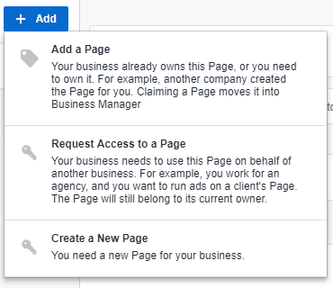 Facebook - Business Manager - Add Facebook Page