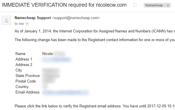 Namecheap - ICANN Email Verification