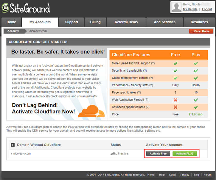 SiteGround - Cloudflare CDN Activate