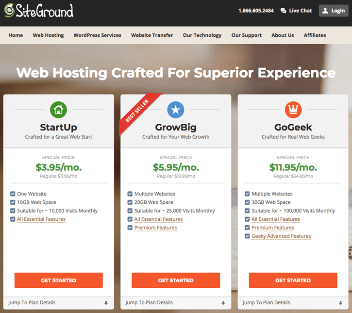 SiteGround - Hosting Plans