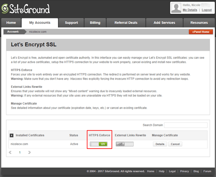 SiteGround - Let's Encrypt SSL HTTPS Enforce