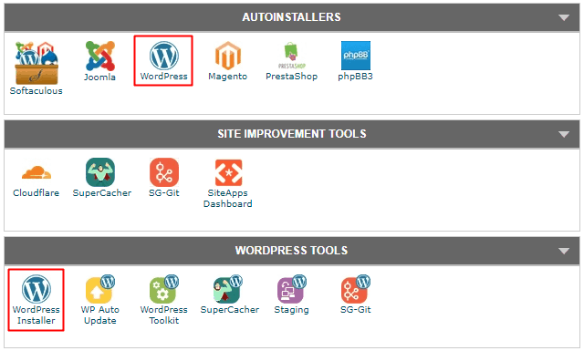 SiteGround - cPanel WordPress Installer
