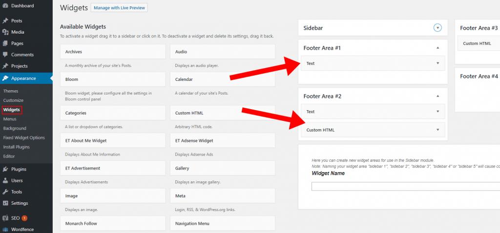 WordPress - Appearance Widgets Footer