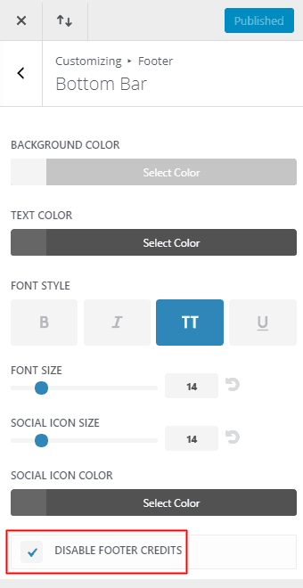 WordPress - Customize Appearance - Footer Bottom Bar Disable Footer Credits