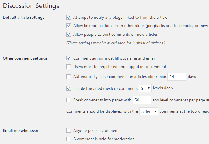 WordPress - Discussion Settings Cropped