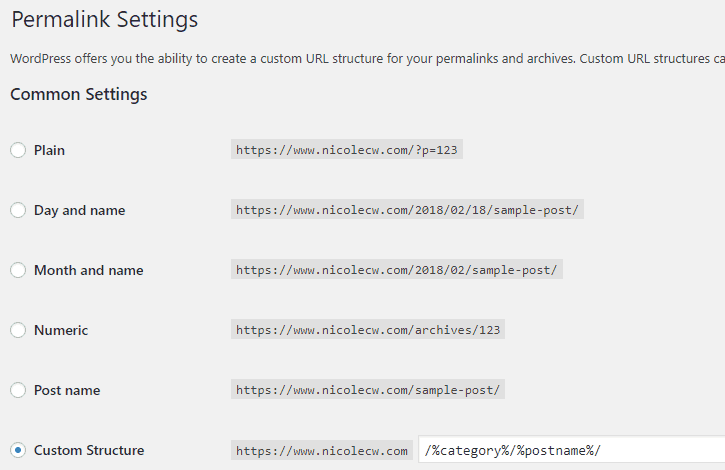 WordPress - Permalink Settings Cropped