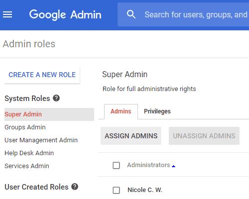 G Suite - Admin Console Admin Roles