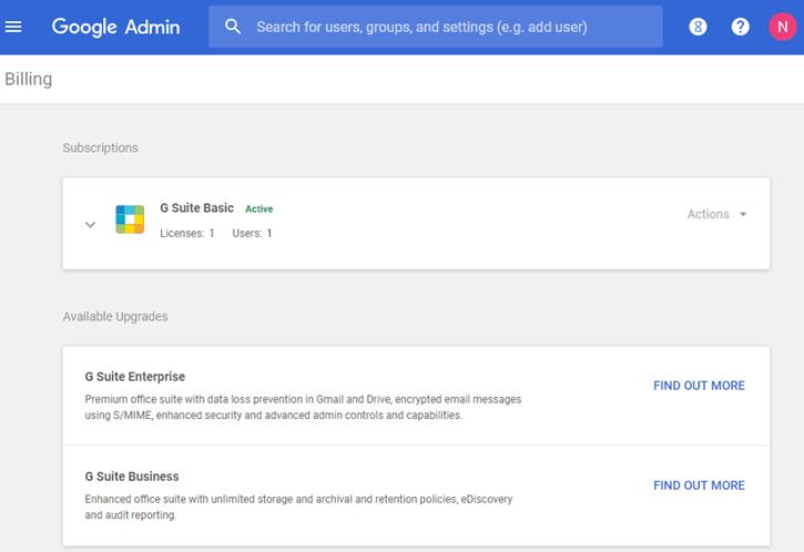 G Suite - Admin Console Billing