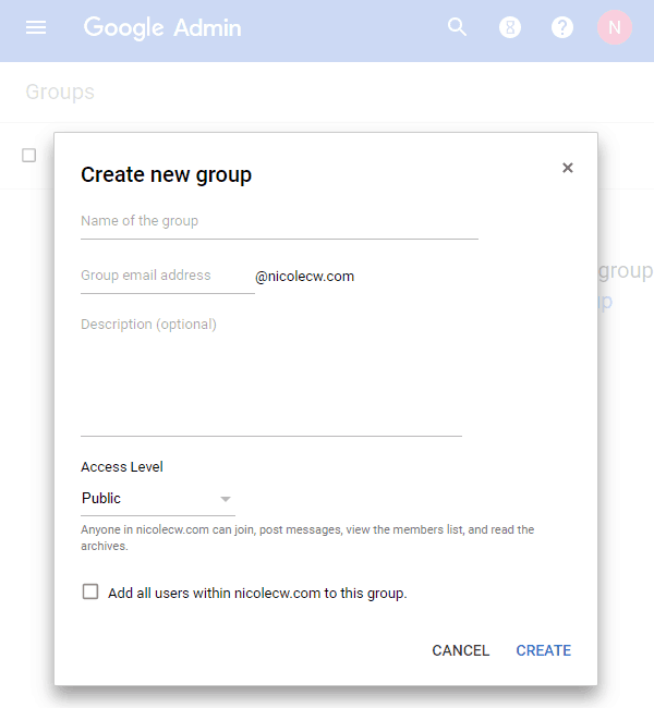 G Suite - Admin Console Groups