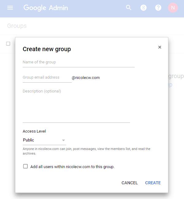 G Suite - Admin Console Groups