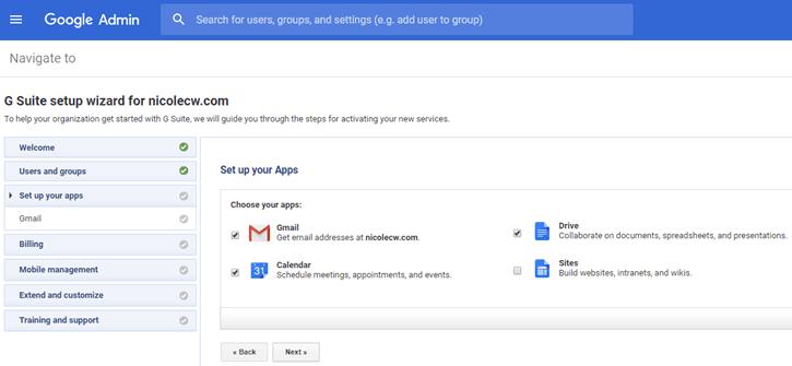 G Suite - Admin Console Setup Wizard Apps