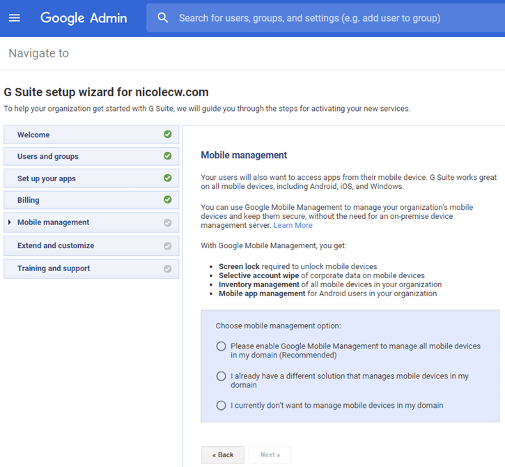 G Suite - Admin Console Setup Wizard Mobile Management