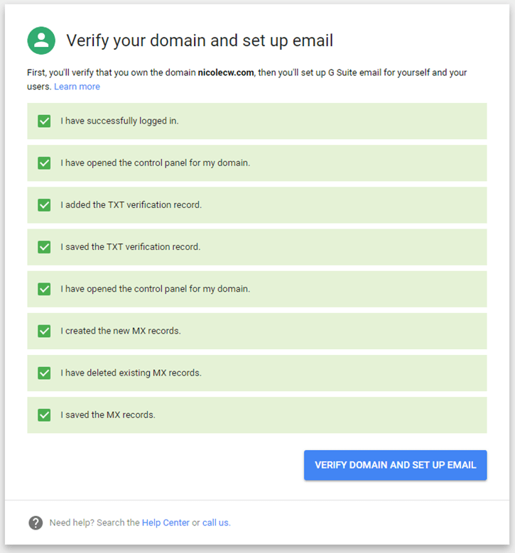 G Suite - Verify Domain Set Up Email