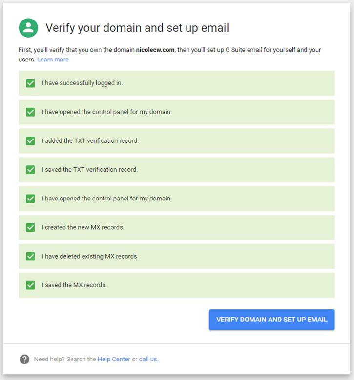 G Suite - Verify Domain Set Up Email