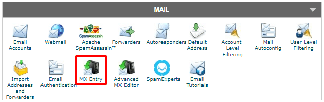 SiteGround - cPanel Mail MX Entry
