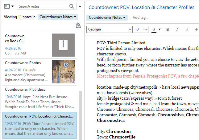 Evernote Plot Notes POV Location Character Countdowner