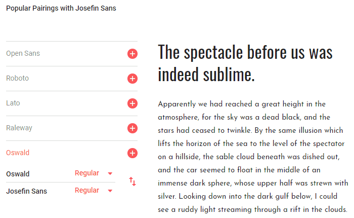Josefin Sans - Google Fonts - Paragraph
