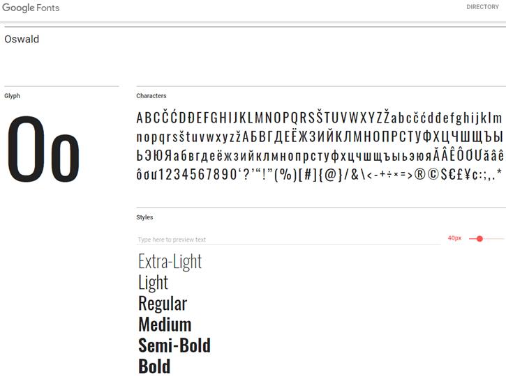 Oswald - Google Fonts