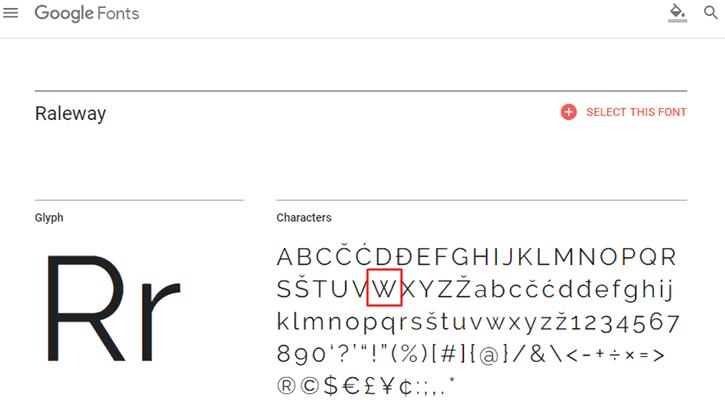 Raleway Font - W