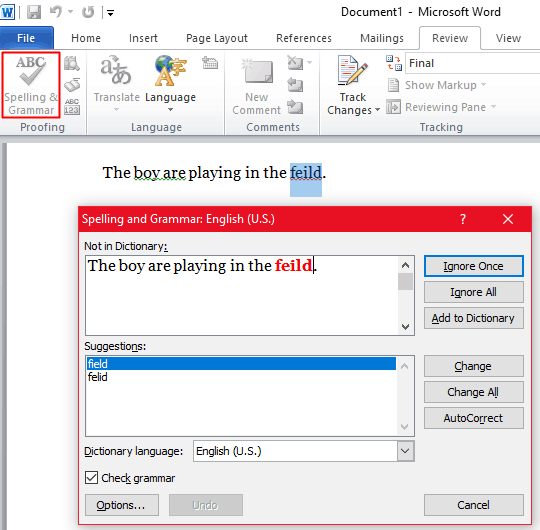 Microsoft Word - Spelling Grammar Checker