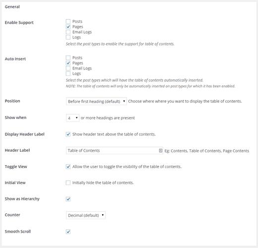 Easy Table Of Contents WordPress Plugin - General Settings