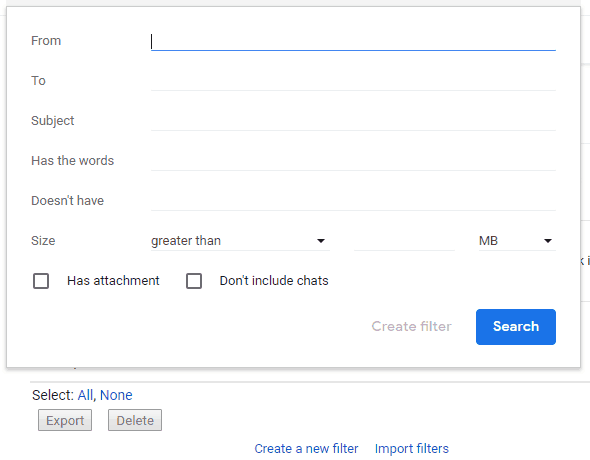 New Gmail - Create New Filter Search Criteria