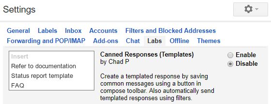 Old Gmail - Labs Canned Responses