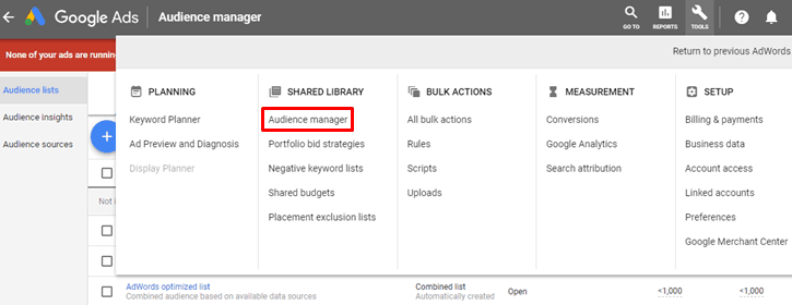Google AdWords New Interface - Audience Manager