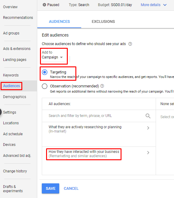 Google AdWords New Interface - Edit Audiences Campaign Targeting Remarketing Similar Audiences